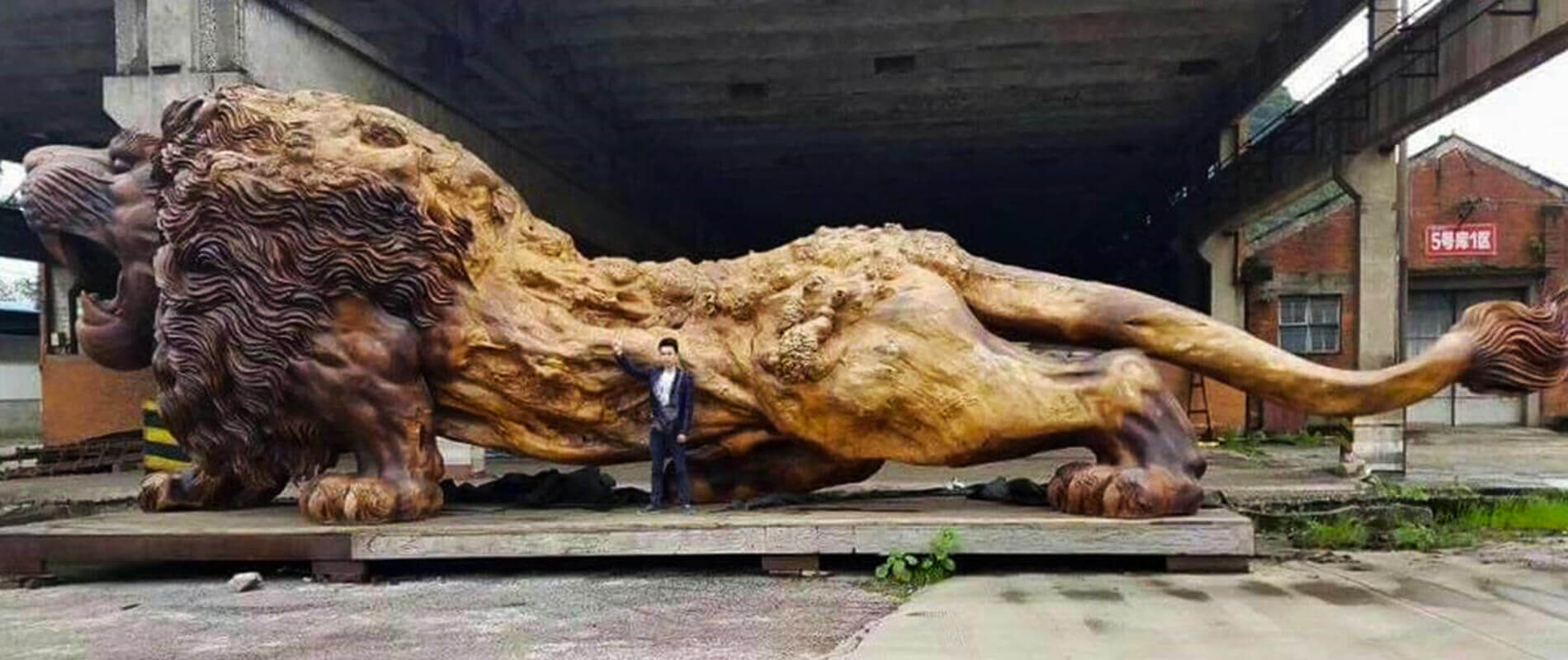 Oriental Lion, the largest wooden sculpture in the world