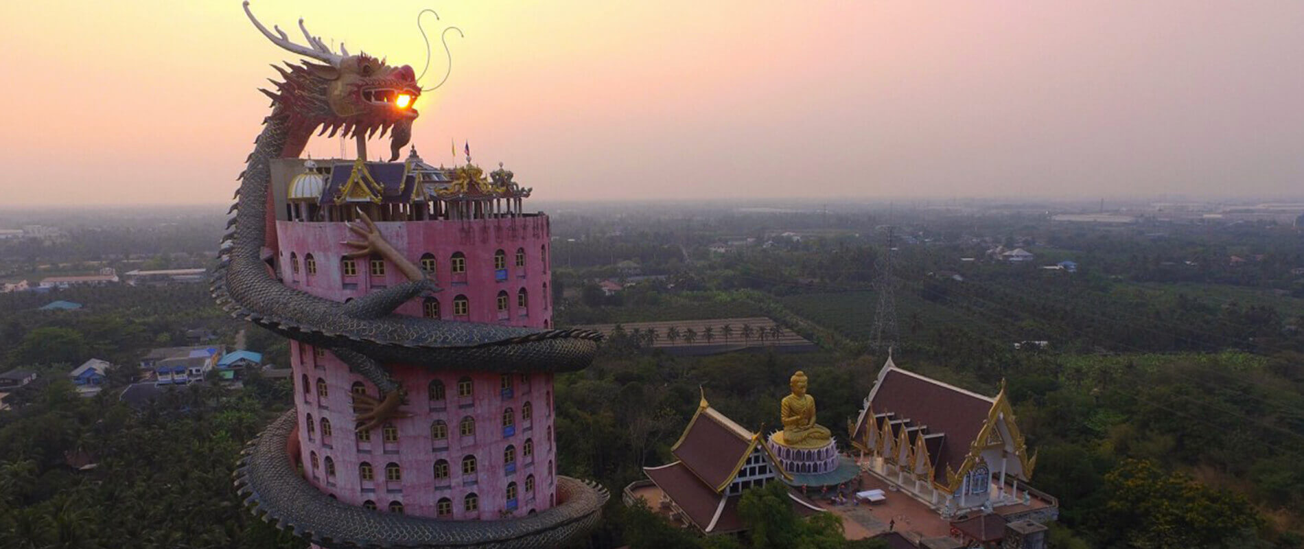 The Temple of Wat Samphran, the Tower Wrapped in the Coils of a Dragon